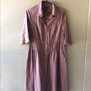 Lane Bryant smocked button-front dress